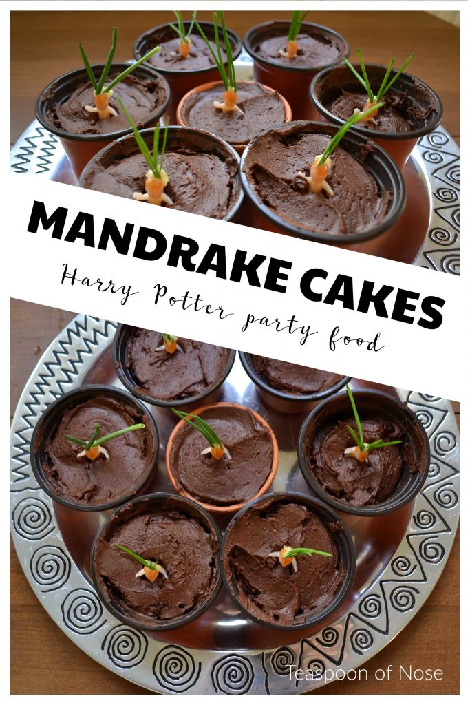 Chocolate Mandrake Cakes for a halloween Harry Potter party!