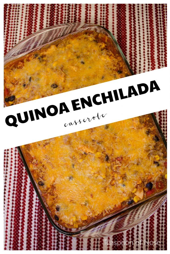 This quinoa enchilada casserole is easy to make a perfect for feeding a crowd! | Teaspoon of Nose