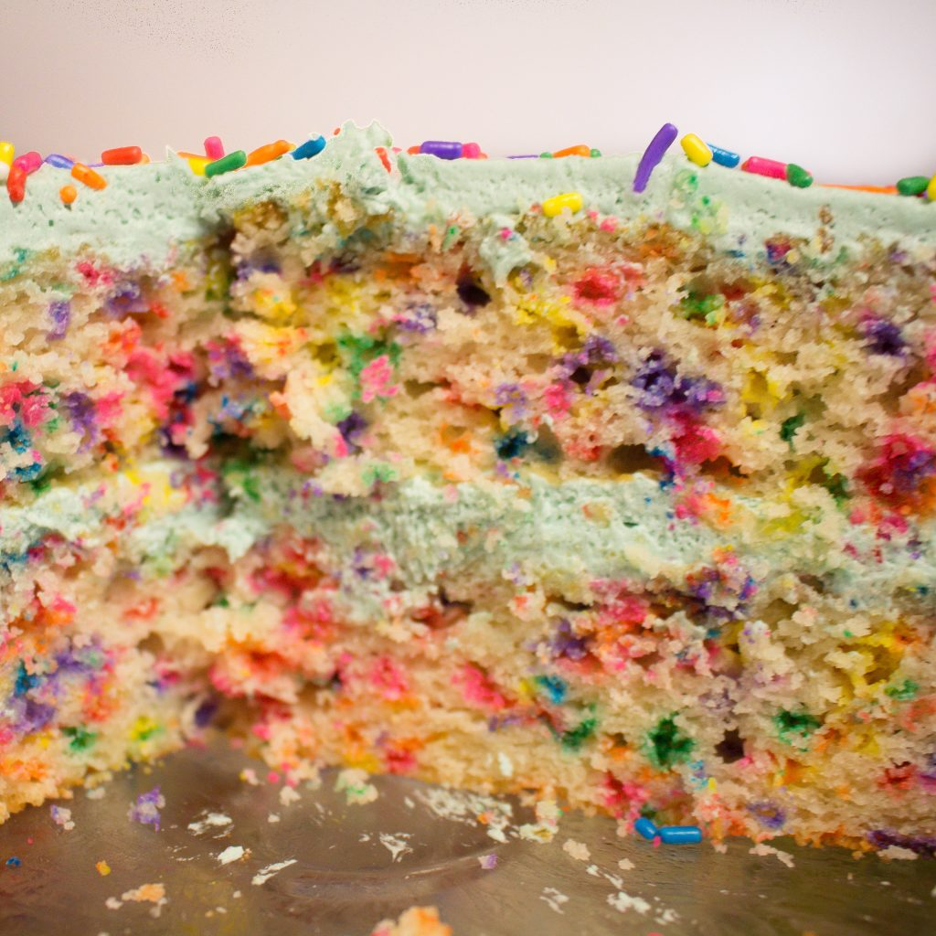 Homemade funfetti cake is even better than the box and perfect for a celebration! | Teaspoon of Nose
