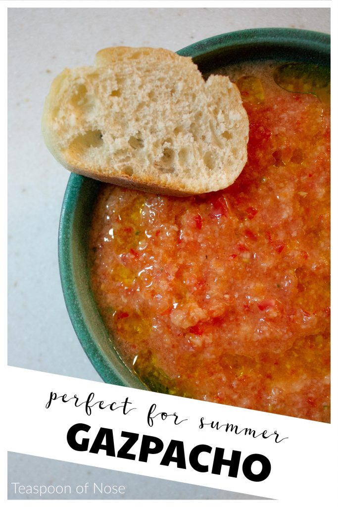 This cold tomato gazpacho is the perfect addition to any summer meal! | Teaspoon of Nose