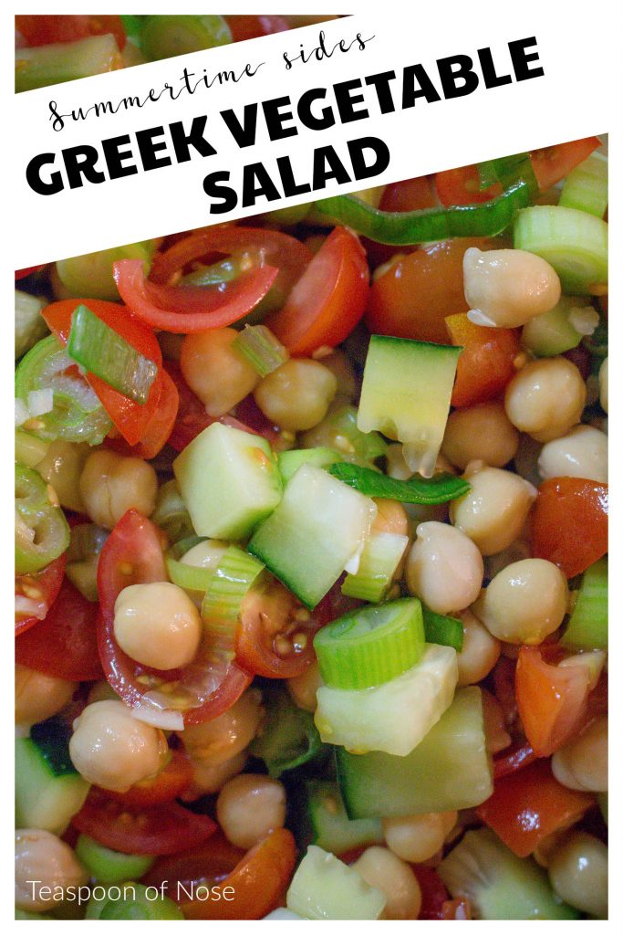 This chunky Greek vegetable salad is the perfect side dish, but the chickpeas mean it's also hearty enough to be a lunch in itself!