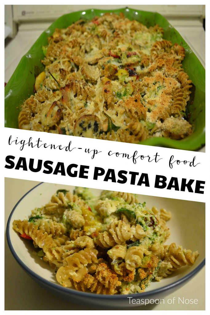 Sausage Pasta Bake is a way to pack veggies into comfort food! | Teaspoon of Nose