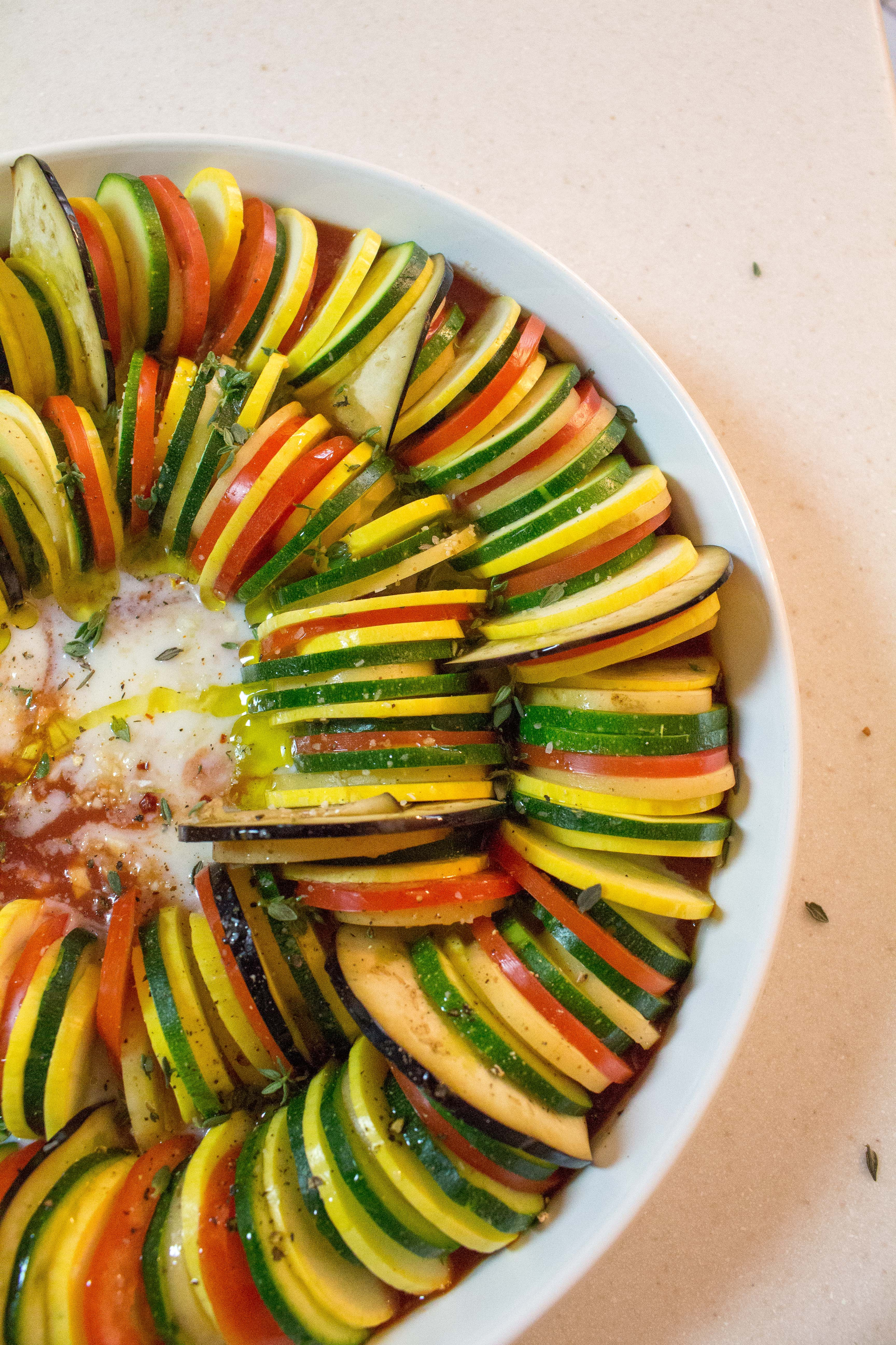 This beautiful ratatouille will impress with its colors but is surprisingly easy to make! | Teaspoon of Nose