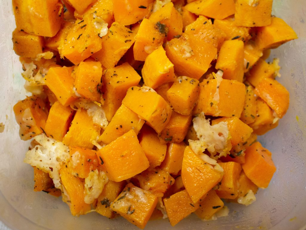 Parmesan roasted butternut squash is easy enough to pull together on a weeknight, but good enough to make it onto a holiday table! | Teaspoon of Nose