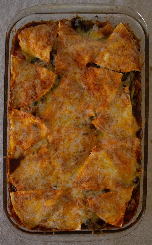 Black bean & squash enchilada casserole gives all the best parts of enchiladas in vegetarian form!