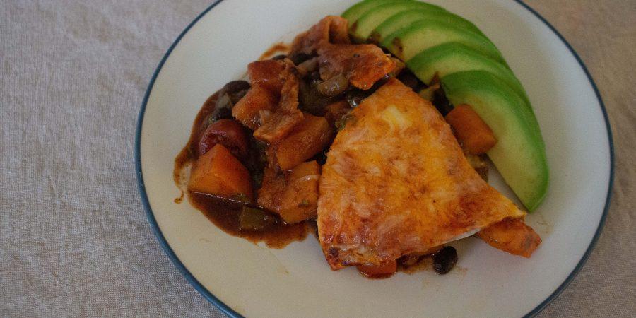 Black bean & squash enchilada casserole gives all the best parts of enchiladas in vegetarian form!