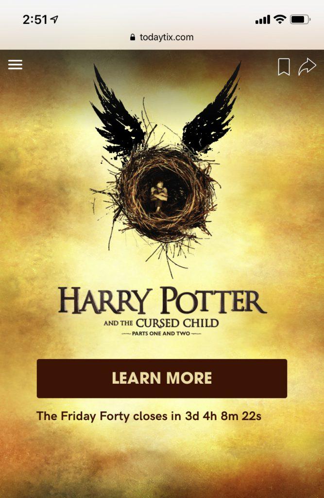 Harry Potter lottery Broadway Tickets