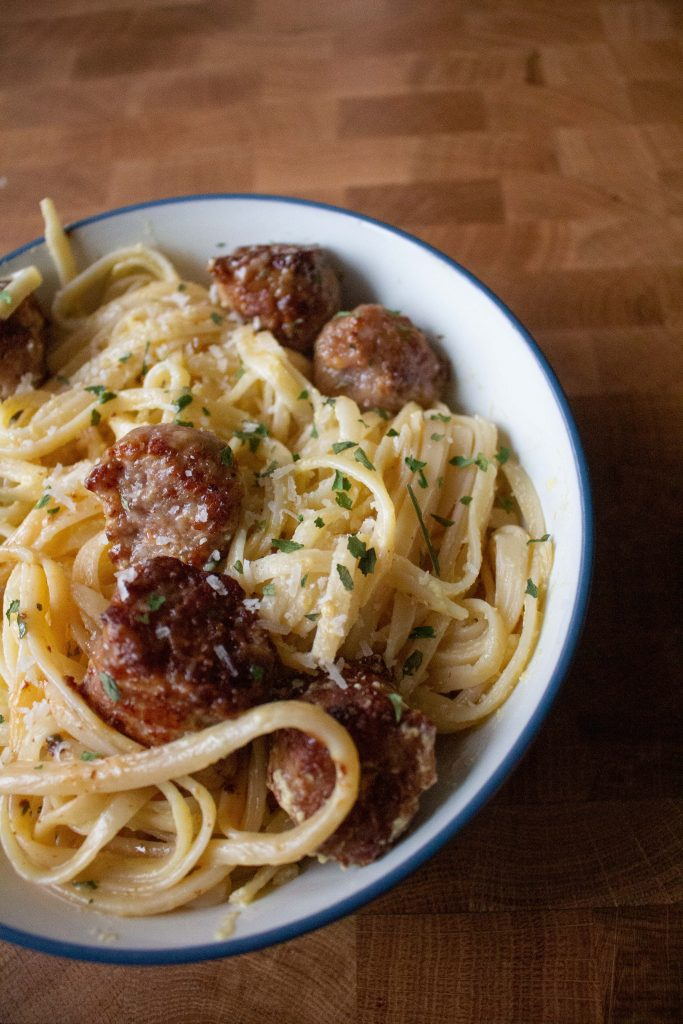 This pasta with sausage and egg, also known as weeknight pasta, is SO GOOD and perfect for a quick dinner!
