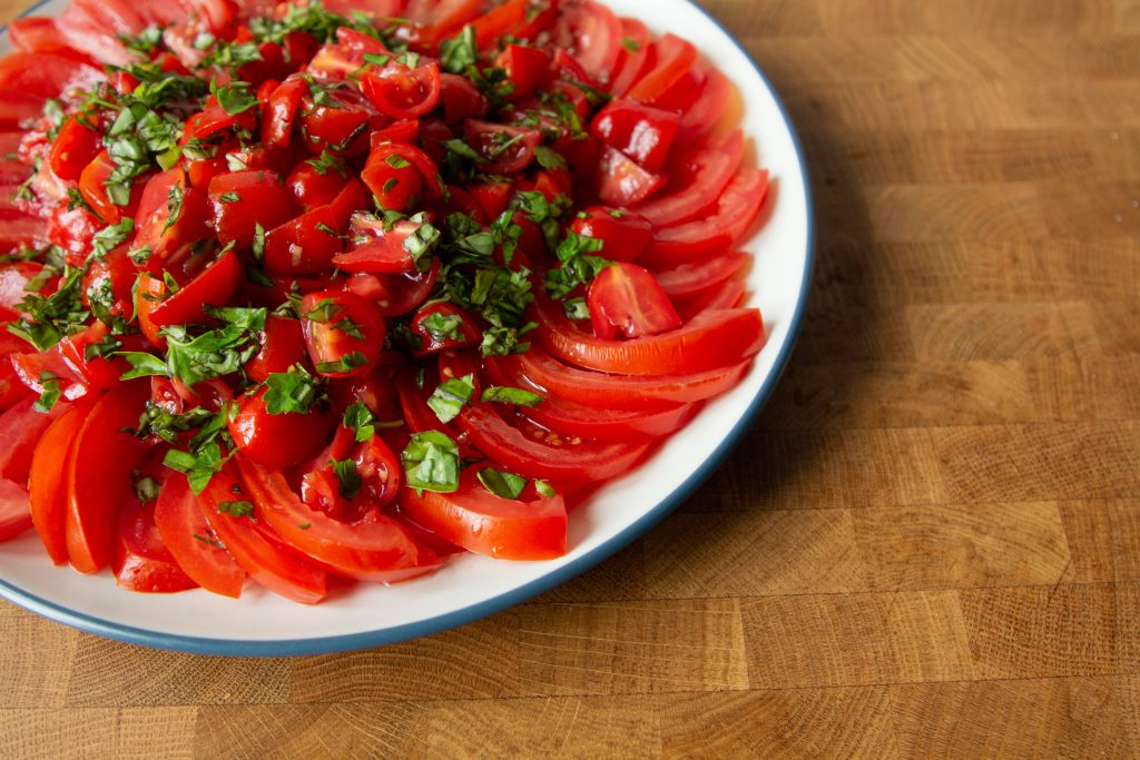 Tomato salad comes together in five minutes and will be your next no-cook summer staple!
