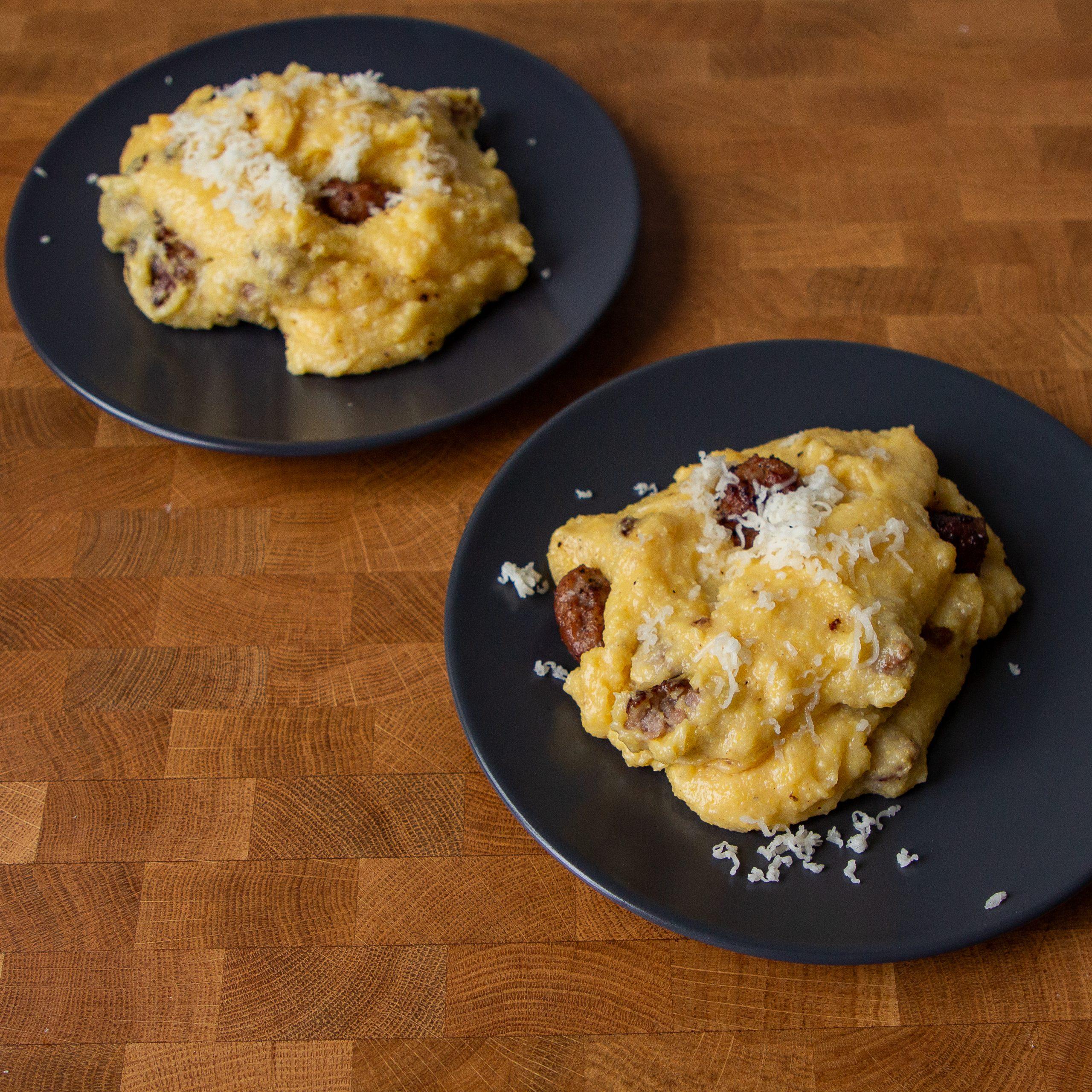 Northern Italian comfort food: cheesy sausage polenta