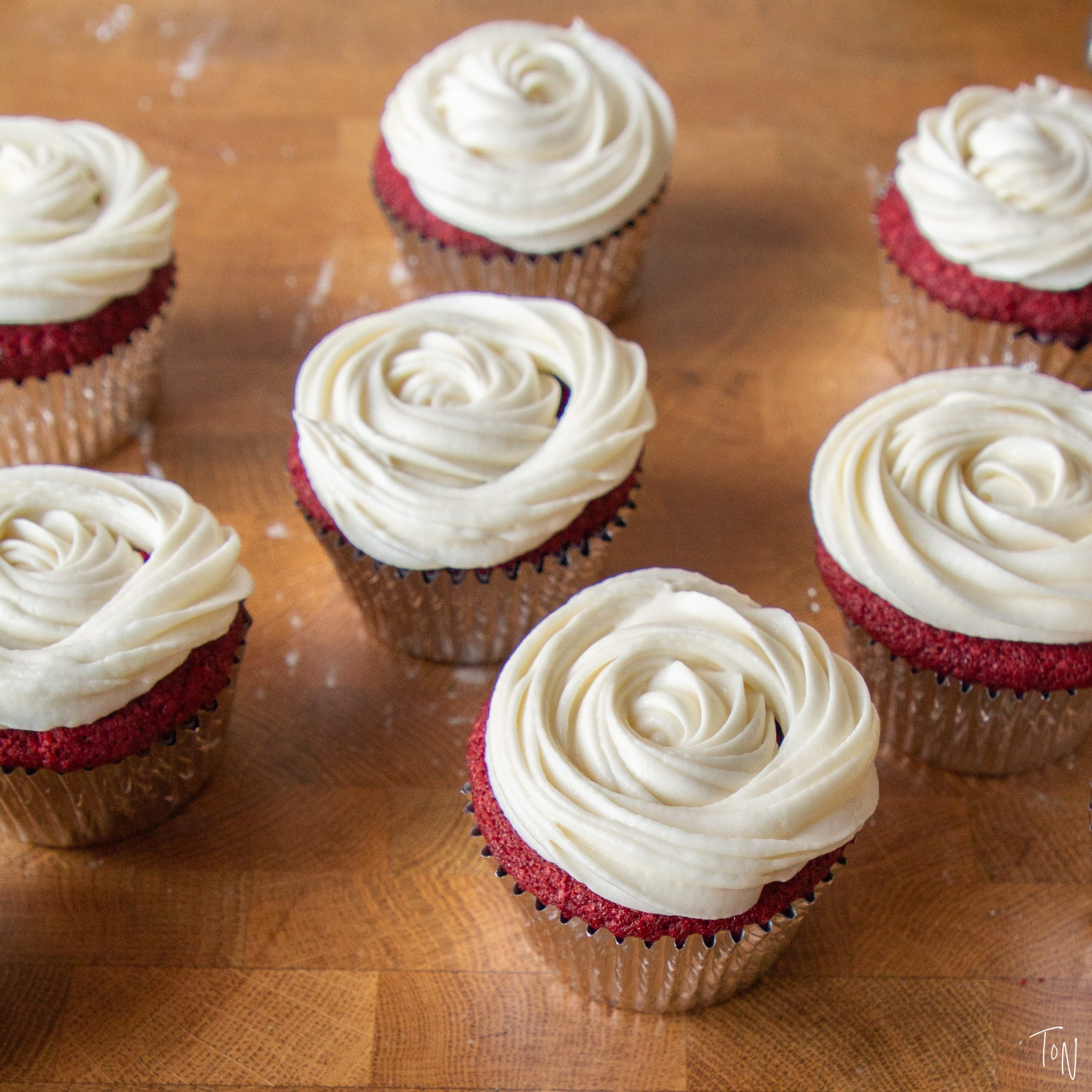 Our version of the classic - red velvet cupcakes never disappoint!