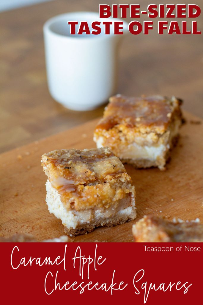 Caramel apple cheesecake bars give the best of the cravable comfort of apple pie and rich, gooey cheesecake!