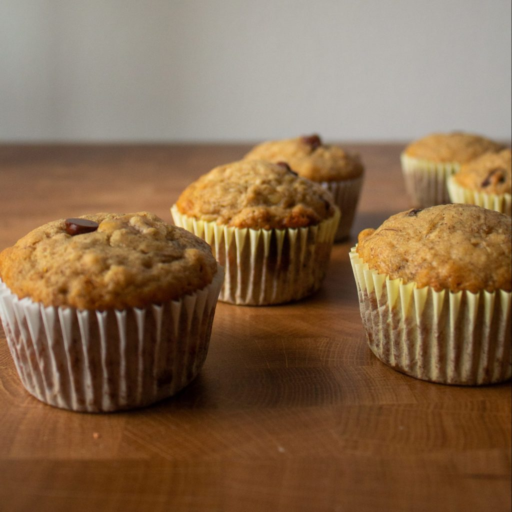 These are a lightened-up on the classic: banana chocolate chip muffins make a fantastic breakfast or snack! | Teaspoon of Nose