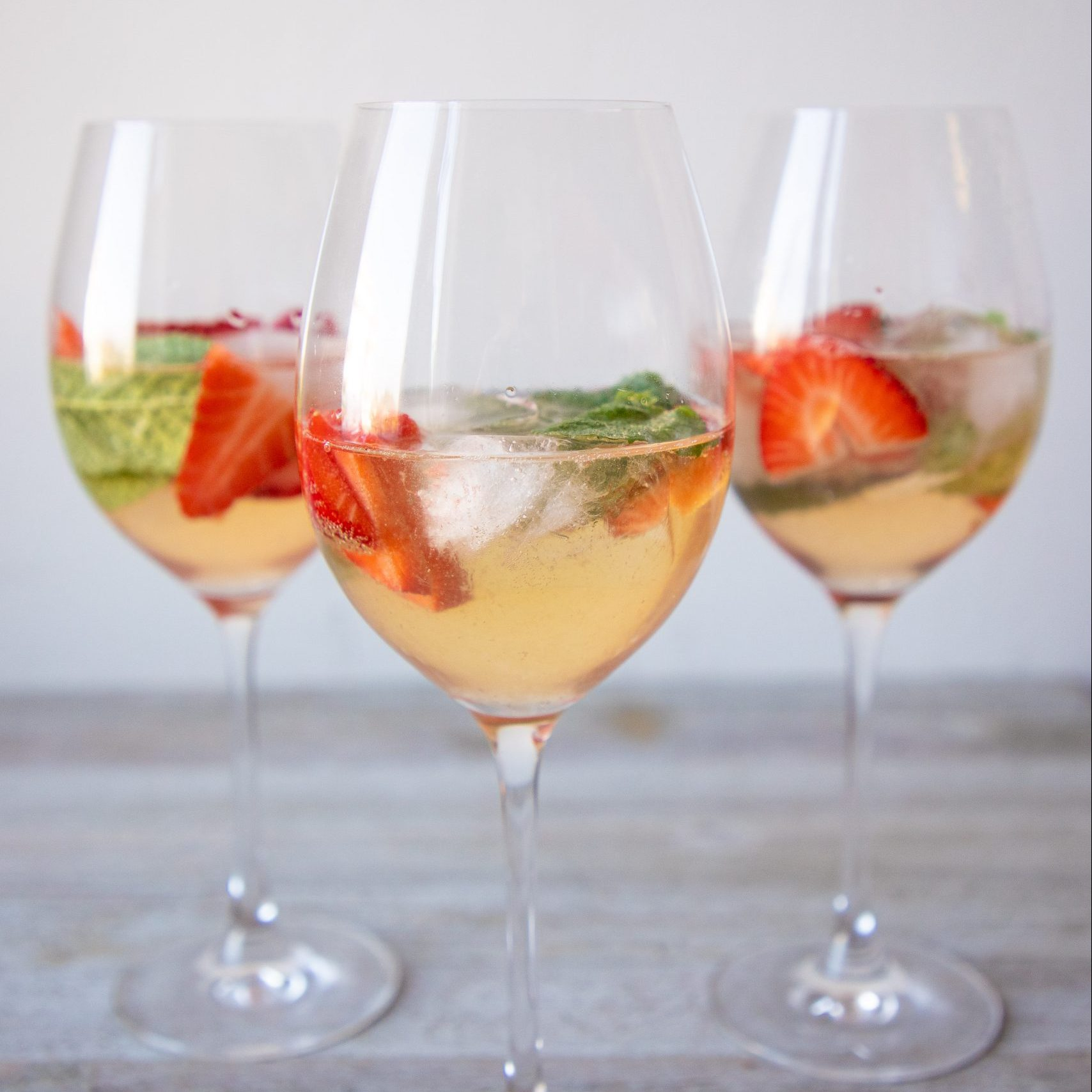 Zoom bridal shower cocktail: St. Germain and strawberry spritz