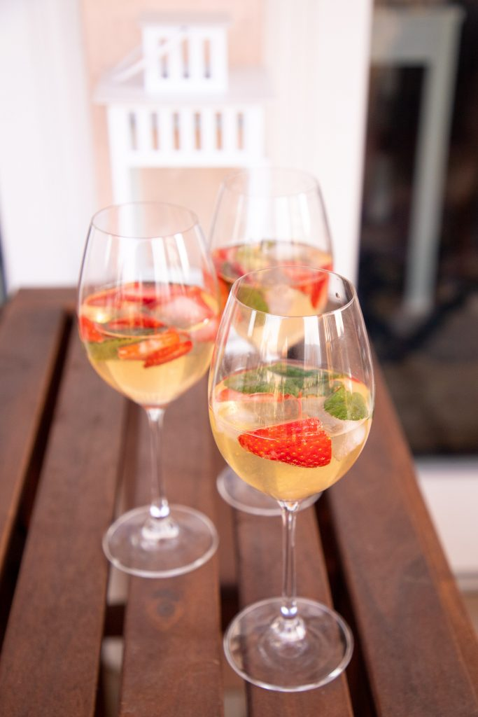 If you're hosting a shower from afar, this St. Germain and strawberry Spritz makes the perfect zoom bridal shower cocktail!