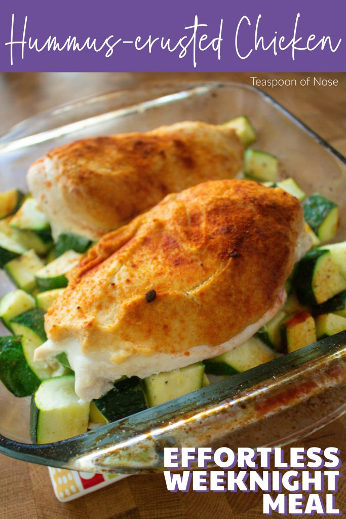 Hummus-crusted chicken makes a great effortless weeknight meal that's healthy to boot!