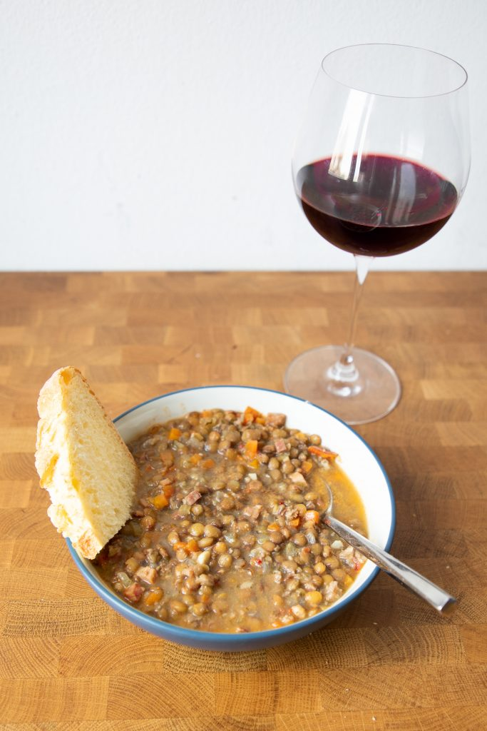 Lentil sausage soup is the perfect warm bowl of goodness on a cold day! It's a great weeknight meal and based loosely on Carrabba's!   Teaspoon of Nose