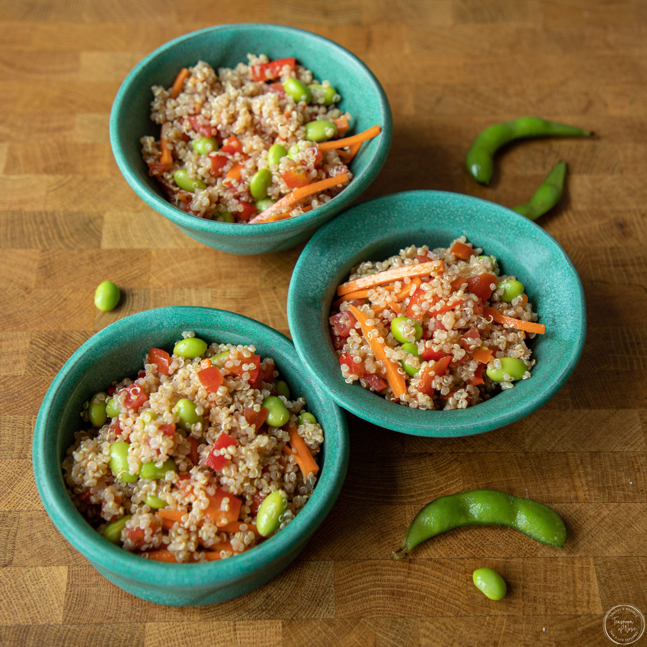 Quinoa and edamame salad is the perfect dish for picnics, beach days, or your go-to summer lunch! | Teaspoon of Nose