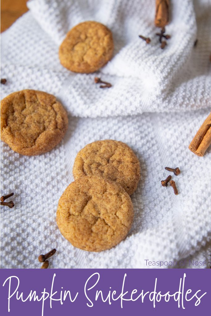 Pumpkin snickerdoodles are a fun fall twist on a classic cookie! The cinnamon-sugar perfection of the classic gets ramped up for autumn.   Teaspoon of Nose